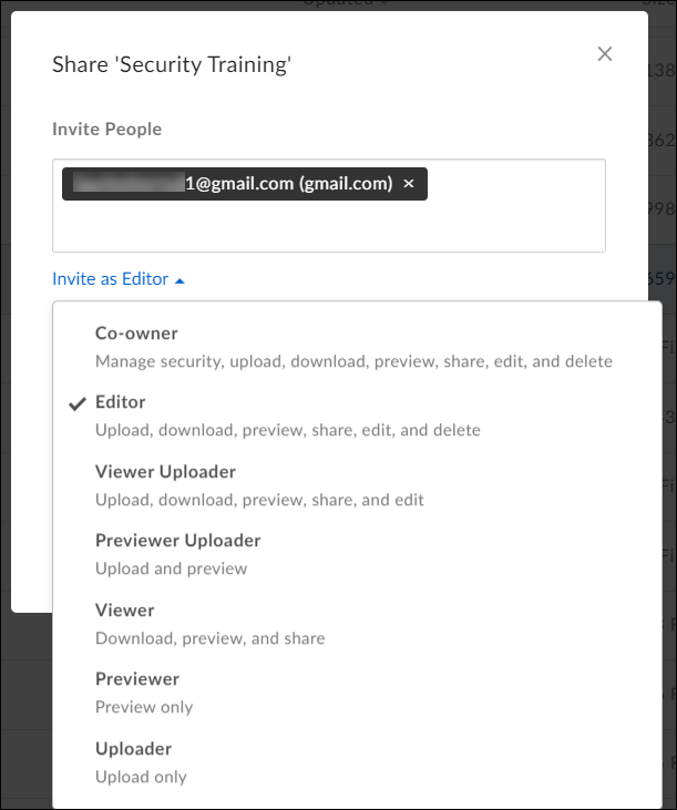 Type in Box user name for collaborator