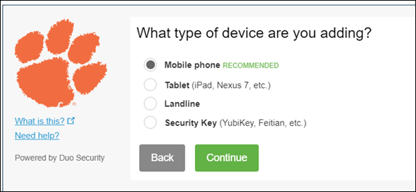 Choose between mobile phone, tablet, landline, and security key