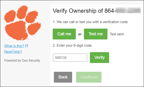 Verify the ownership of the phone number you entered