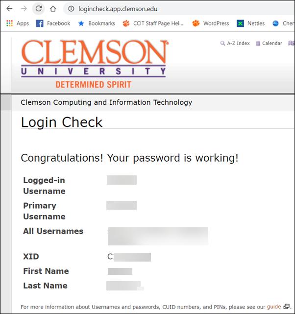 WhoAmI login check page