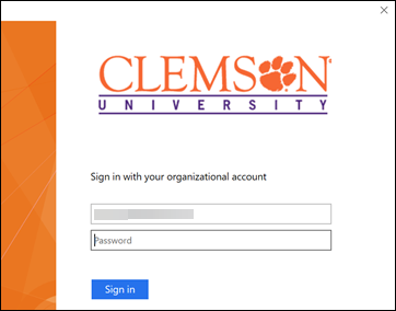 Clemson Sign in page