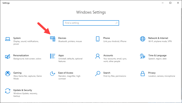 This is the window that will appear when you open the Windows 10 Settings