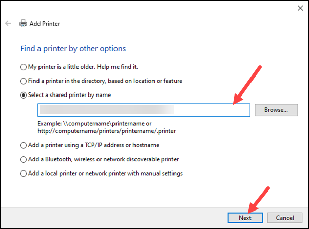 Select a printer by name window