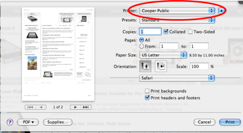Submitting a Paw Prints Public print job from Mac OS