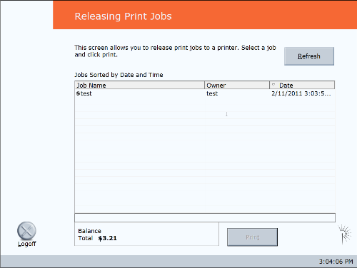 Submitting a Paw Prints Public print job - release station job listing