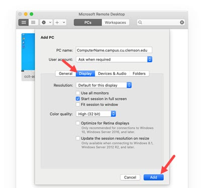 Remote Access Display settings