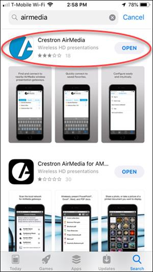 Apps store search for Crestron Air Media