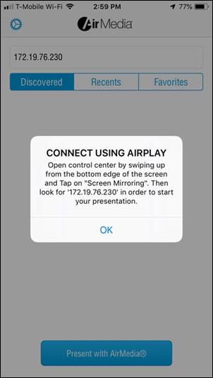 Phone says CONNECT USING AIRPLAY click OK