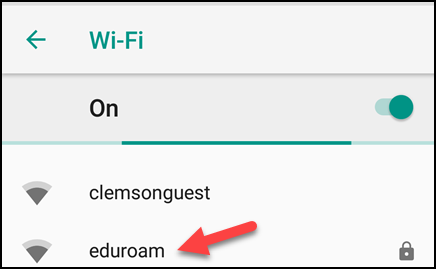 Arrow pointing to eduroam