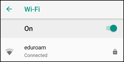 eduroam shows as connected in Wi-Fi