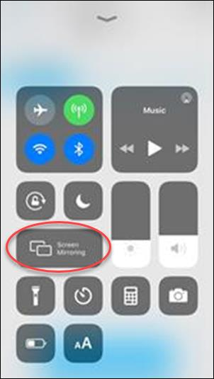 Screen Mirroring option on left side of phone