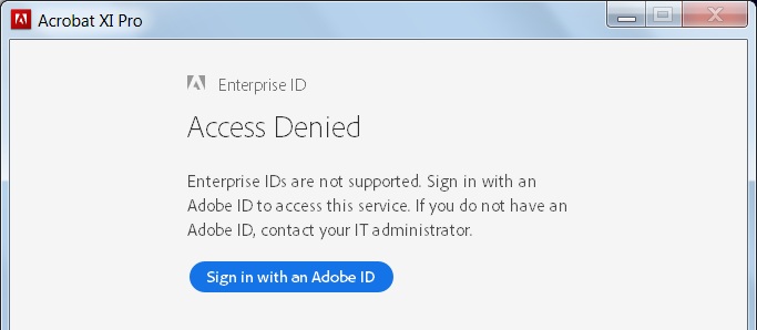 Your Adobe software license has expired, or is in Trial Mode