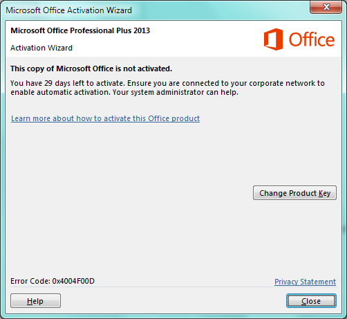 Microsoft Office is not activated