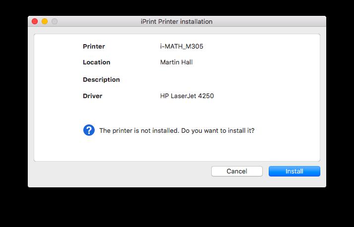 iPrint printer installation