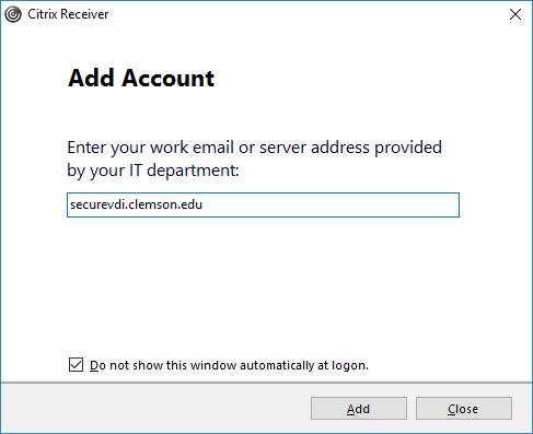Setting up Citrix Workspace for SecureVDI