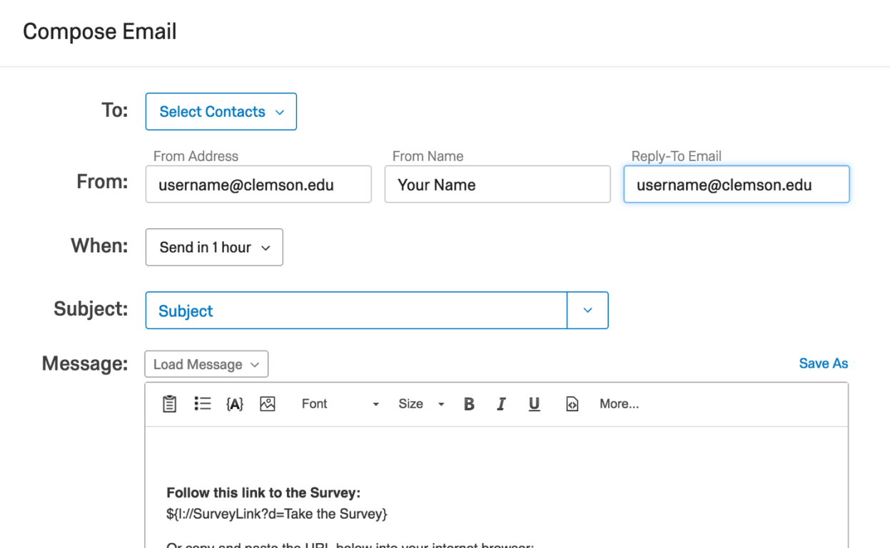 Image of Change Setting location in Qualtrics Mailer Tool