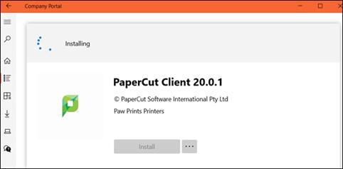 Company Portal Installing a new app screen