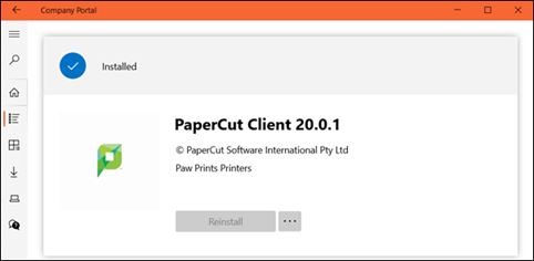 Company Portal app is installed screen
