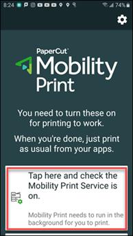 PaperCut Mobility Print Initial Service screen