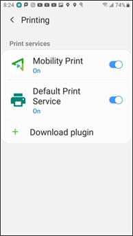 PaperCut Mobility Print Service toggle switch