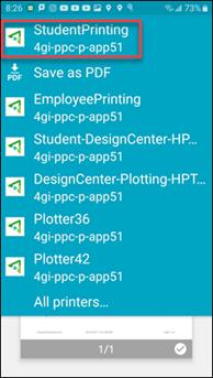 StudentPrinting printer selected