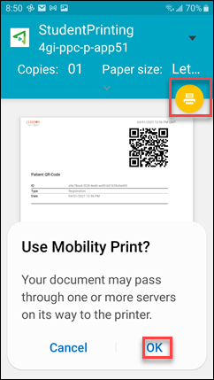 Yellow printer icon and OK both selected