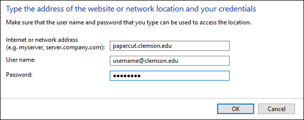 Website address form