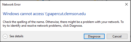 Network error cannot connect to PaperCut