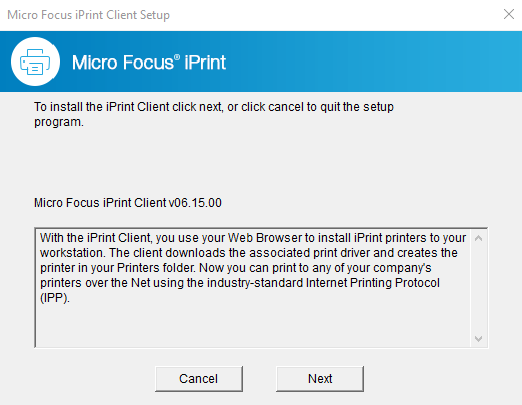 Installing iPrint Client for Windows