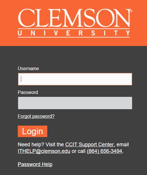 clemson login page common error messages