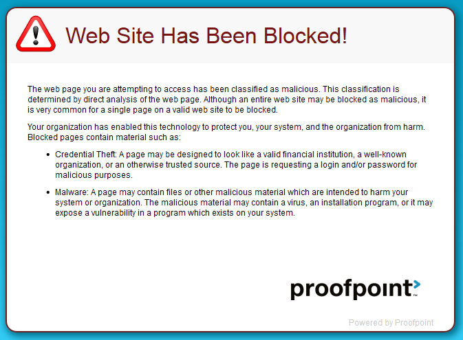 Proofpoint Blocked Message